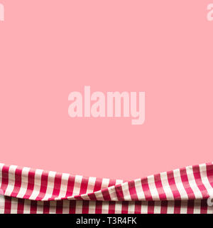 Red checkered fabric on pink color background.For decoration key visual layout - Stock Photo