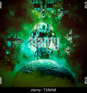 Skeleton military astronaut warrior / 3D illustration of science fiction scene of evil skull faced space soldier with laser pulse rifle rising above m - Stock Photo