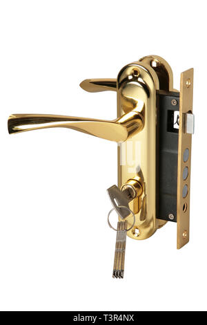 Stainless metal handle with lock and keys isolated on a white background - Stock Photo