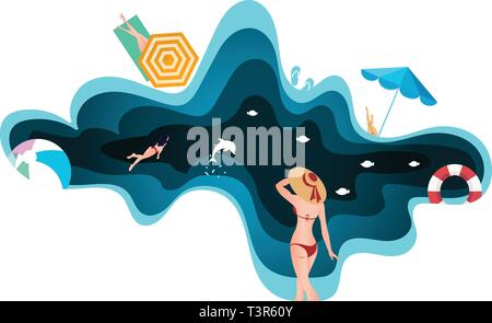 Paper cut and craft style beach and sea. Summer holiday concept template - Stock Photo