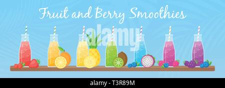 Healthy diet smoothie drink set vector illustration. Glass bottle with straw and layered fresh cocktail in rainbow colors with collection of raw fruit on tropical background for cafe smoothie banner - Stock Photo