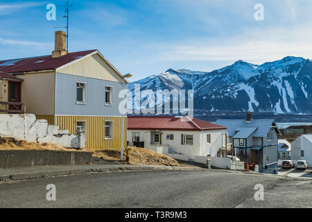 Residential neighborhood in Borgarnes along Borgarfjörður fjord in south western Iceland [No property release; available for editorial licensing only] - Stock Photo