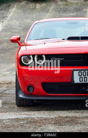 Dodge challenger SRT Car at Brooklands, Weybridge, Surrey, England - Stock Photo