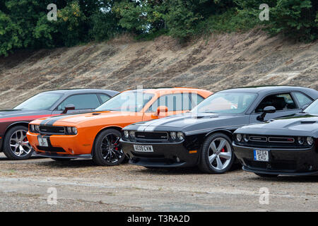 Dodge challenger SRT Cars at Brooklands, Weybridge, Surrey, England - Stock Photo