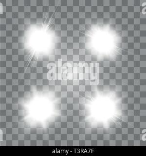 Set of Vector glowing light effect stars bursts with sparkles on transparent background. Transparent stars - Stock Photo