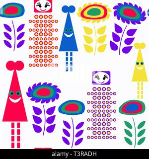 Monsters seamless pattern. It is located in swatch menu, vector - Stock Photo