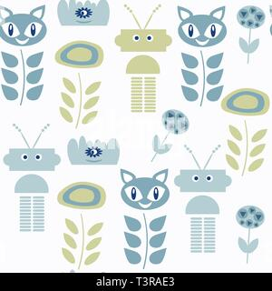 Monsters seamless pattern. it is located in swatch menu, vector image - Stock Photo