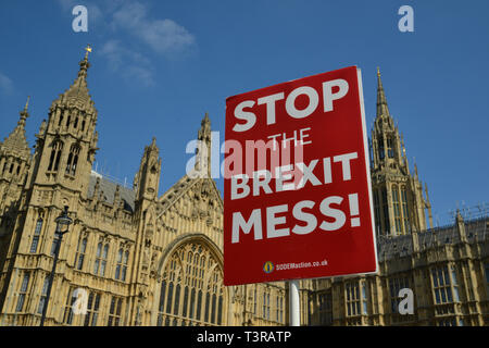 Stop Brexit placard opposite Houses Of Parliament, Westminster, London - Stock Photo
