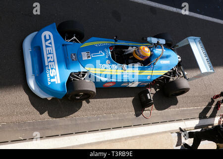 Aerial view of Kieth White driving his 1977, Ralt RT1 Formula 3 race car at the 2019 Silverstone Classic media day. - Stock Photo
