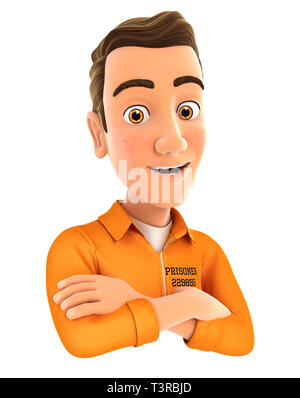 3d prisoner with arms crossed, illustration with isolated white background - Stock Photo