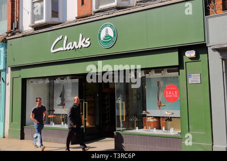 Clarks shoe shop in Bell Street, Henley-on-Thames, UK - Stock Photo