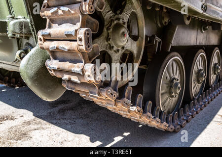 Close up view of caterpillar of the Russian armored tank - Stock Photo