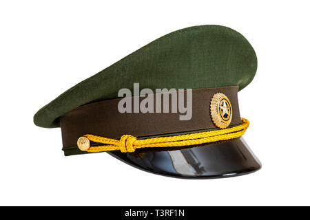 Uniform cap of Russian army officer isolated on white background - Stock Photo