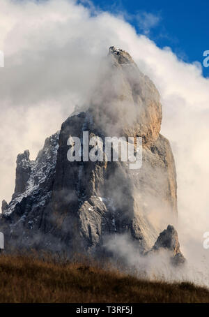 The Cimon (literally, big summit) della Pala is the most famous peak of the Pale di San Martino group in the Dolomites, Italy. For its particular shap - Stock Photo