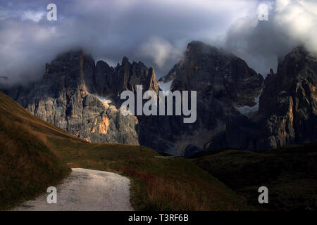 The whole range of the Pale di San Martino, one of the most famous and beautiful groups of the Dolomites, as seen from the military road (built during - Stock Photo