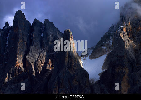 A close-up view on some of the amazing jagged peaks of the Pale di San Martino, one of the most famous and beautiful groups of the Dolomites, as seen  - Stock Photo