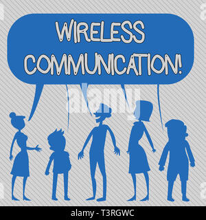 Text sign showing Wireless Communication. Business photo showcasing Communicating between devices using a wireless signal Silhouette Figure of People  - Stock Photo