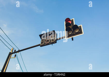Countdown Traffic Light. Overhead stop light diagonal top right to bottom left. Double 7 Segment display made from LED's. - Stock Photo