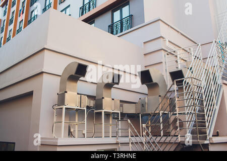 Detailed view of a newly installed steam ventilation pipe within home. exhaust pipes on the house. - Stock Photo
