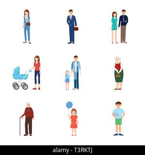 Vector illustration of family  and people symbol. Set of family  and avatar  stock symbol for web. - Stock Photo