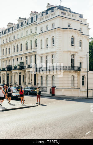 London/UK - July 21 2018: Victorian townhouses on the Kensington Park Road in Notting Hill, London, UK - Stock Photo