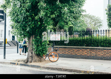 London/UK - July 20 2018: Elgin Crescent name sign on the fence of the garden in Notting Hill, London, UK - Stock Photo