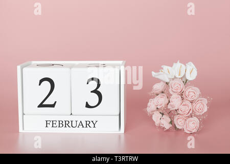 February 23rd. Day 23 of month. Calendar cube on modern pink background, concept of bussines and an importent event. - Stock Photo