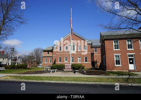 Exterior of the Warren County Courthouse in Belvidere, New Jersey.  The building was constructed in 1826. - Stock Photo