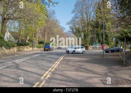 Alloway, Scotland, UK - April 09, 2019: High Maybole Rd, Alloway, Ayr looking North past the Robert Burns Museum in Alloway near Ayr Scotland. - Stock Photo