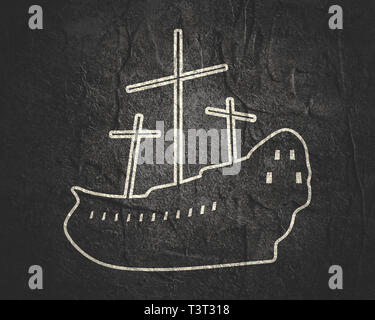 Sailing ship icon in thin line style. - Stock Photo
