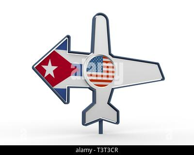 Emblem design for airlines, airplane tickets, travel agencies. Airplane icon and destination arrow. Flags of the USA and Cuba. 3D rendering - Stock Photo
