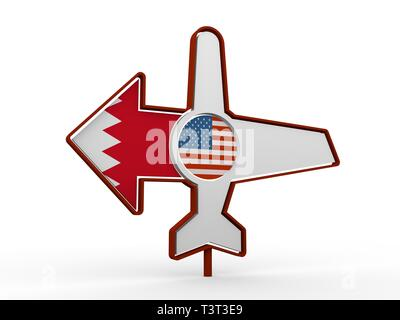 Emblem design for airlines, airplane tickets, travel agencies. Airplane icon and destination arrow. Flags of the USA and Bahrain. 3D rendering - Stock Photo