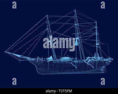 Wrieframe of an old sailing ship. Side view. Vector illustration - Stock Photo