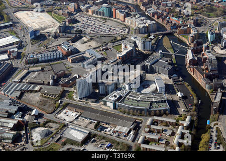 aerial view of Leeds city centre from over the Cross Green area - Stock Photo