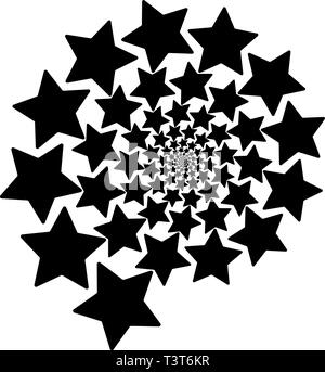 Isolated spiral of stars on a white Square background. Design Element. - Stock Photo
