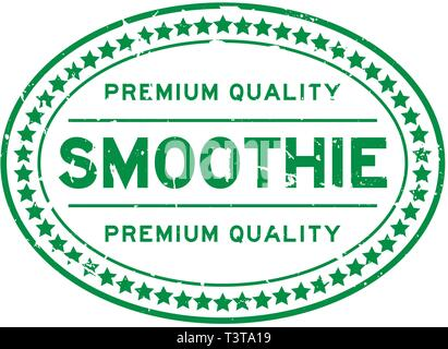 Grunge green premium quality smoothie oval rubber seal stamp on white background - Stock Photo