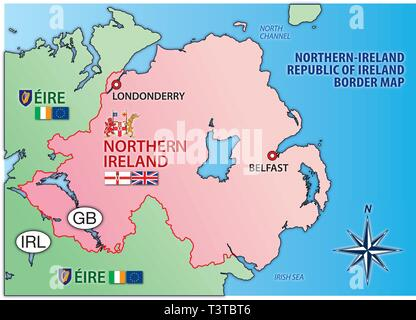 Northern Ireland and Eire map with border, flags and national symbols, vector illustration - Stock Photo