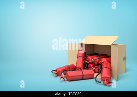 3d rendering of cardboard box lying sidelong full of red fire extinguishers on blue background. - Stock Photo