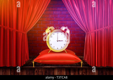 3d rendering of an alarm clock on a cushion with red curtains and red brick wall background - Stock Photo