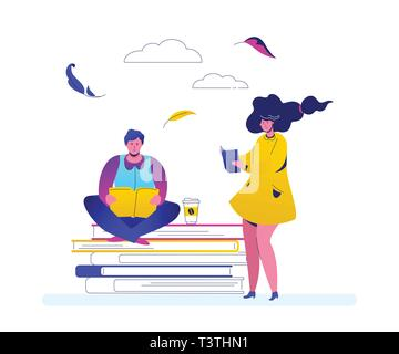 Reading concept - flat design style colorful illustration on white background. High quality composition with cute characters, a man and woman with boo - Stock Photo
