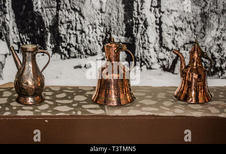 Very old style metal ewer water jar in view - Stock Photo