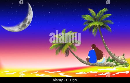 Couple in deep love sitting on tree trunk at the beach and looking to the sea or ocean. Romantic couple embracing at the beach under moonlight night. - Stock Photo