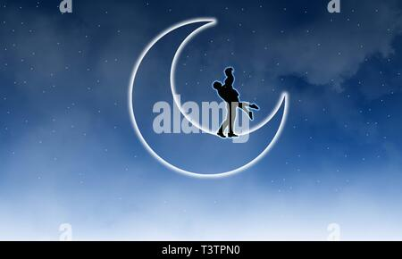 Classic fairy tale romance. Couple in love on moon and cloudy night sky gradient background.Illustration of couple hugging on moon in romantic night.
