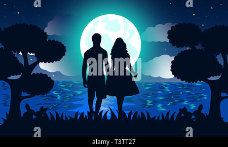 Romantic illustration under moonlight. Silhouette of Couple holding hands together in forest over blue night gradient background. Love concept. - Stock Photo