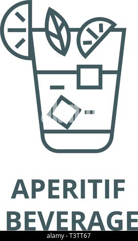 Aperitif, beverage line icon, vector. Aperitif, beverage outline sign, concept symbol, flat illustration - Stock Photo