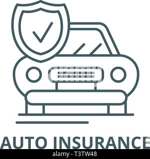 Auto insurance line icon, vector. Auto insurance outline sign, concept symbol, flat illustration - Stock Photo