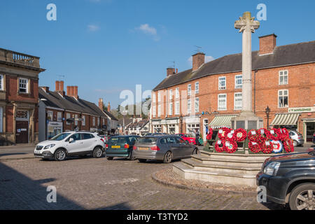 Market Place in the centre of Market Bosworth, Leicestershire - Stock Photo