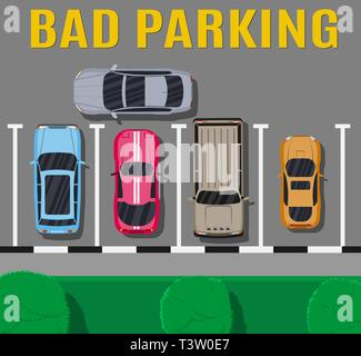 City parking lot with different cars. Shortage parking spaces. Parking zone top view with vehicles. Bad or wrong car parking. Traffic regulations. Rul - Stock Photo