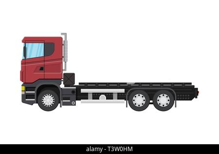 Cargo delivery truck with platform for container. Shipping and delivery of goods. Car for transport. Trailer vehicle. Vector illustration in flat styl - Stock Photo