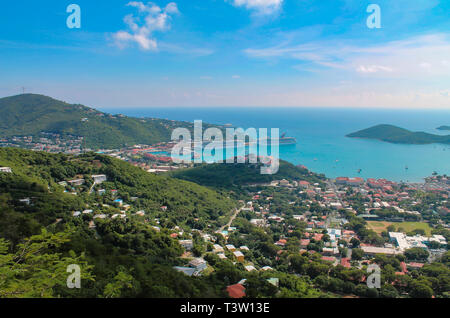 Aerial view of the Cruise Ship Harbor of St. Thomas an island of the US Virgin Islands in the Caribbean. - Stock Photo